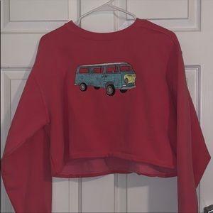 Vintage Embroidered Comfort Colors Crop Sweatshirt